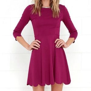 Lulu's Scallop Trim Dress Purple Size Small